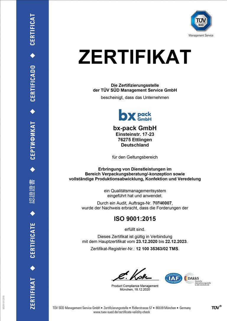 ISO 9001:2015 Zertifikat 2020-2023